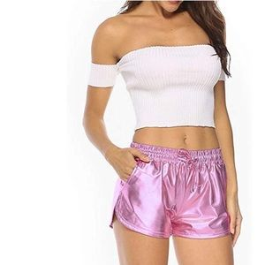 Pants - Pink metallic shorts